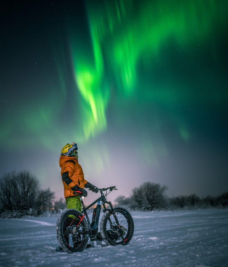 Like to see the aurora borealis but travelling to spot by car sounds not good for you? Join our guided fatbike northern lights tour. A bucket list thing. Rovaniemi Lapland Finland.